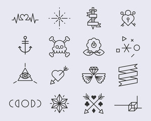 tattoo Line icons vector illustration
