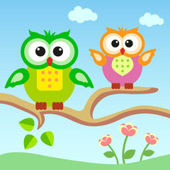 Cartoons owls sitting on a branch.