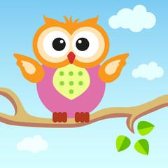 Cartoon owl sitting on a branch.