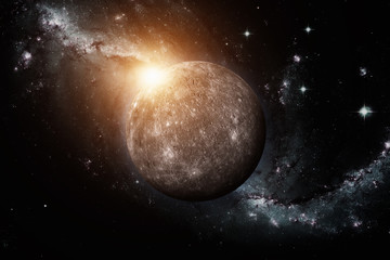 Planet Mercury. Space background. Elements of this image furnished by NASA.