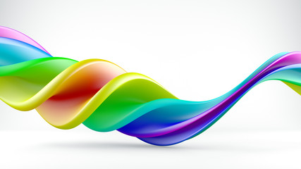 Bright colorful twisted shape abstract 3D render