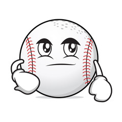 Smirking face baseball character cartoon