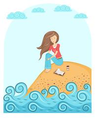 Cute girl sitting on the seashore