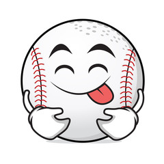 Tongue out baseball cartoon character