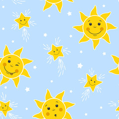 Seamless Pattern with Funny Suns and Stars