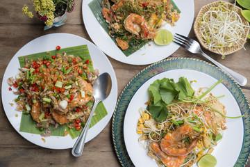 Food series: Variety of Thai food, Pad-Thai, deep fried prawns