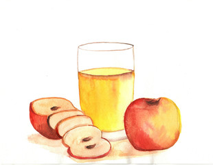 Watercolor apple juice with apples