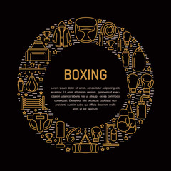 Boxing poster template. Vector sport training line icons, circle illustration of equipment - punchbag, boxer gloves, ring, heavy bags. Box club banner with place for text.