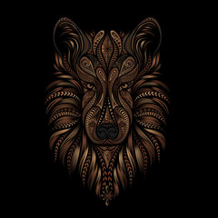 Symbol of the new year 2018. Brown vector dog from a variety of ornaments on a black background