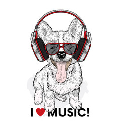 Cute puppy in headphones. Vector illustration for a postcard or a poster, print for clothes. Pedigree dog.