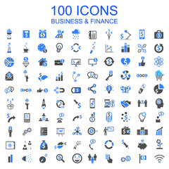 Set of 100 Business Icons - stock vector