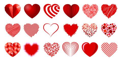 Set of eighteen hearts - stock vector