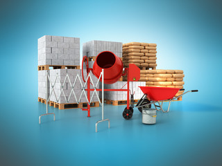 Building materials 3d render on a blue background