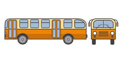 Old-fashioned a retro the city passenger vintage bus in flat style a vector.Element of design of infographics or travel company.