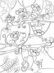 Family of monkeys on a tree coloring book for children cartoon vector illustration