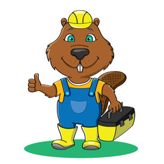 Funny beaver builder in overall and yellow work helmet showing thumb up and holding box with tools