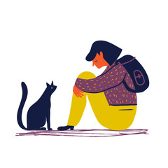 Sad and depressed girl  sitting on the floor with her cat. Creative vector illustration.