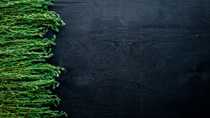 Wall Mural - Herbs, fresh spices. On Wooden background. Top view. Free space.