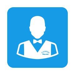 Icono plano croupier en cuadrado azul