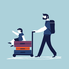 Father and his son are going on vacation in airport. Vector illustration in cartoon style. Concept for family time, vacation.