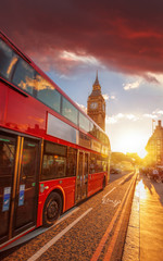 Foto op Aluminium Londen rode bus Double decker bus against Big Ben with colorful sunset in London, England, UK