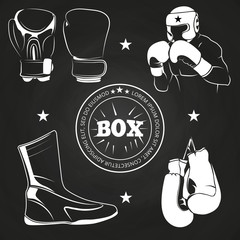 Boxing athlet and sport on chalkboard