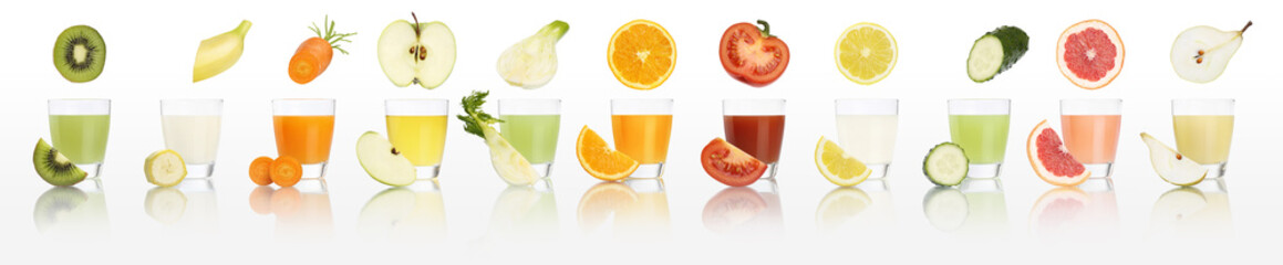fruits and vegetables juice glasses  isolated on white background, diet concept and panorama web...
