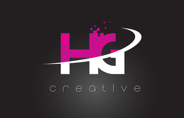 HG H G Creative Letters Design With White Pink Colors