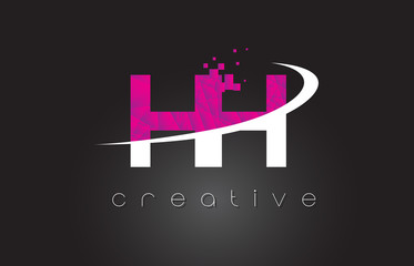 HH H H Creative Letters Design With White Pink Colors