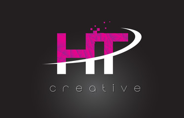 HT H T Creative Letters Design With White Pink Colors