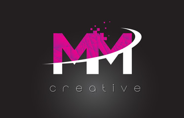 MM M M Creative Letters Design With White Pink Colors