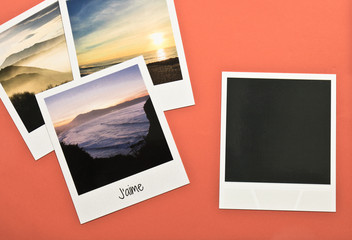 Retro vintage four instant photo frames cards on red background with images of nature with text j'aime and blank black photo frame in colour