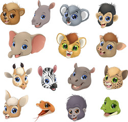 Set of animal heads