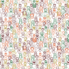hand dawn people seamless vector pattern