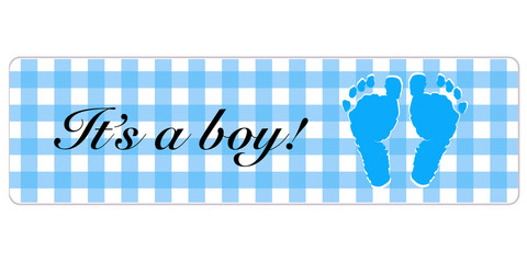 Baby boy banner. Baby shower banner with foot prints vector