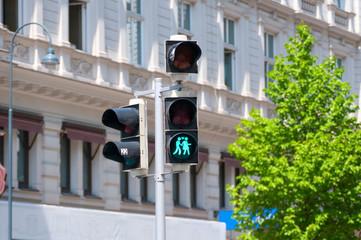 Green traffic light in Vienna, Austria