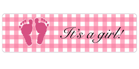 Baby girl banner. Baby shower banner with foot prints