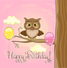 Cute owl, balloons, pink sky and clouds. Happy birthday greeting cartoon template. vector
