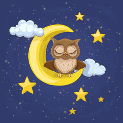 little owl sitting on a moon with clouds and night stars, yawning with closed eyes. vector cartoon illustration