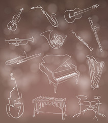 Set of classical musical instruments made in abstract hand drawn style on blurry bokeh background. Vector