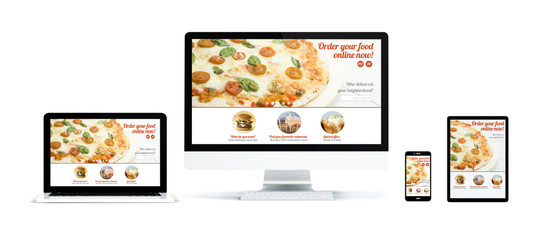 Wall Mural - realistic devices isolated with responsive order online website
