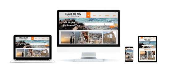 Wall Mural - realistic devices isolated with travel agency website