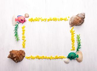 Decorative frame with seashells