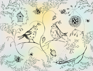 Set with images of birds, insects and floral elements. Sketch ink. Can be used for cover design of the postcards.