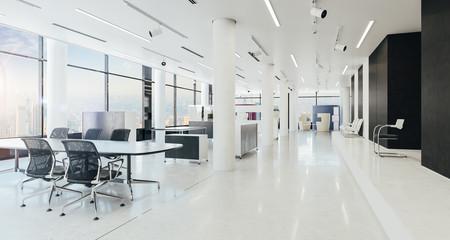 3d modern office space interior render