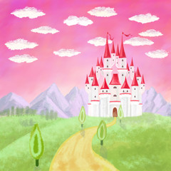 Foto op Plexiglas Candy roze cartoon castle, trees and mountains, clouds on pink sky background