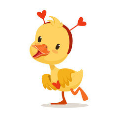 Sweet yellow duckling in a red headband with hearts, emoji cartoon character vector Illustration