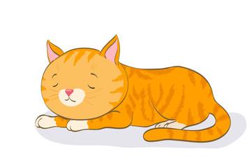 sleeping cute little cat. cartoon red tabby kitten. vector illustration