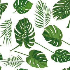 Seamless hand drawn tropical pattern with palm leaves in green color, jungle exotic leaf on white background