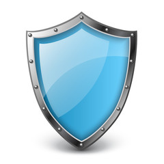 Realistic blue shield vector illustration, isolated on white with metallic border